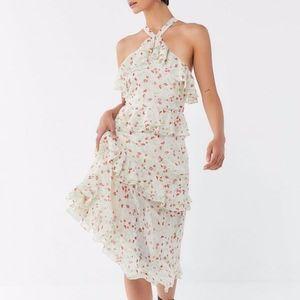Ruffle Cross-Back Midi Dress